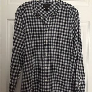 JCrew Boy Fit Navy Gingham Button Down - 16
